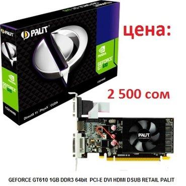 GEFORCE GT610 1GB DDR3 64bit  PCI-E DVI HDMI DSUB RETAIL PALIT 2 500 в Бишкек