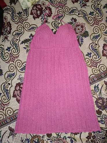 Летнее вязаное платье. Ручная работа