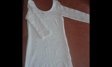 Haljina prljavo bele boje, pamucna, uska, sa cipkom i ispod postavom, - Vrsac