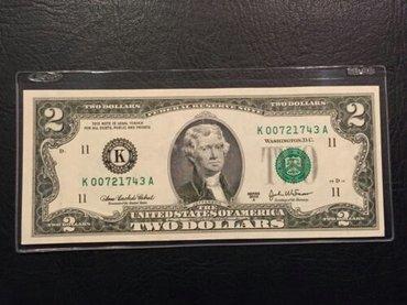 Bakı şəhərində 1995 2 Dollar əskinası.Əla vəziyyətdədir