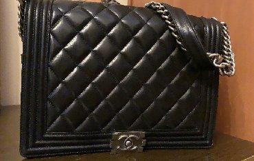 Təci̇li̇ satilir! Chanel. Qara rəngli, böyük ölçülü, dəri çanta. Çox