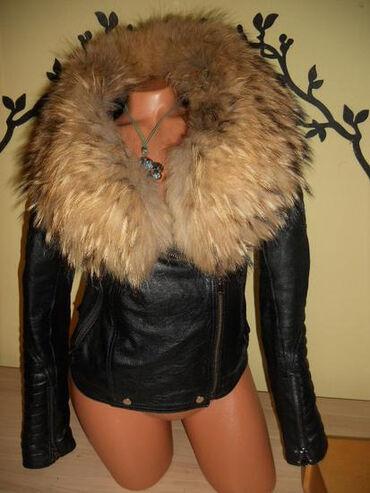 Jakna sa prirodnim krznom - Srbija: Vrhunska kožna jakna sa prirodnim krznom rakuna,koža meka kao