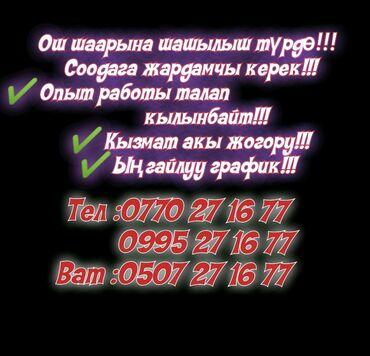 авторынок город ош в Кыргызстан: Шашылыш түрдө соодага жардамчы керек!!!!- эмгек акы жогору-ыңгайлуу