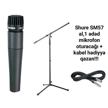 qitara - Azərbaycan: Shure SM57 mikrofon.Mikrofon satisi bakida karaoke mikrofonlari