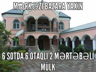 Xırdalan şəhərində Xirdalan bazara yaxin 6 sotda 6 otaq kupcali baq-baqcali heyetli ev .