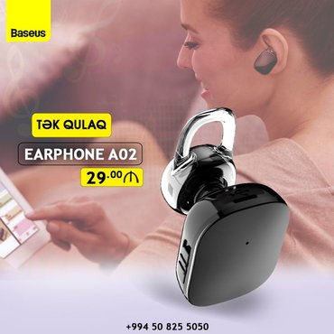 Baseus A02 Bluetooth qulaqciqMaterial plastmas+silikon Bluetooth V
