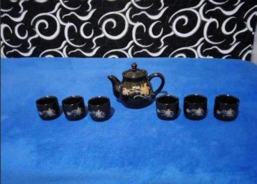 Nov lep cajnik od japanskog porcelana sa 6 soljica rucno oslikanih. - Beograd