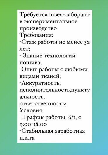 одежды в Кыргызстан: Должностные обязанности: -Пошив и проработка экспериментальных
