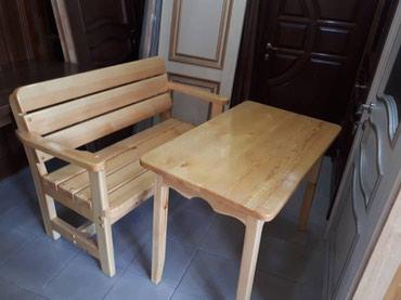 Все из дерева.  Стол и скамейка. в Бишкек