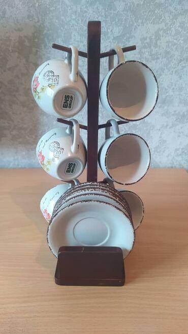 Дом и сад - Бишкек: Чайный набор, в комплекте идет 6 чашек, 6 блюдцей, подставка. Торг