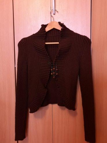 Ponco-vuna-akril - Srbija: Kardigan topli 30% vuna 70% akril, braon boje, S velicina