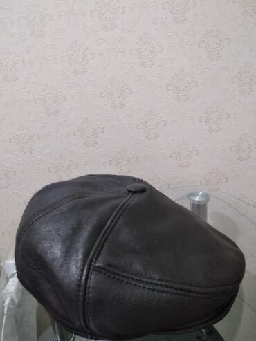 Мужская шапка кожаная