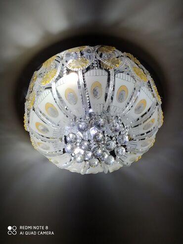 Люстра очень красивая, серебро d-60, 8ламп.+галогены.Для галогенов