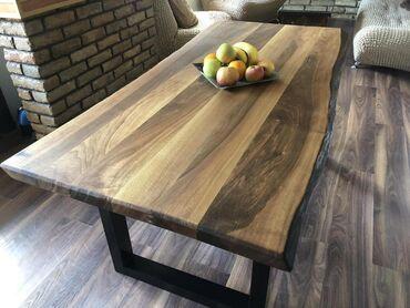 Trpezarijski sto u industrijskom stilu. Postolje stola je izradjeno od