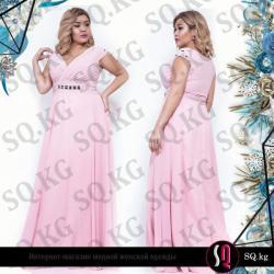платье из шифона в Кыргызстан: Вечернее платье в пол из воздушного шифона нежно розового цвета