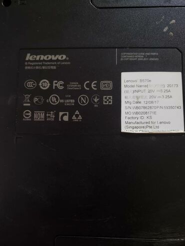 Электроника - Бишкек: Lenovo B570 процессор Intel Calero B800 (1.5 ГГЦ 2 ядра) Оперативная п