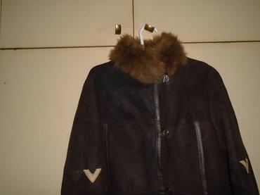 Zenska monton bunda od prevrnute kože sa krznenim okovratnikom i - Belgrade