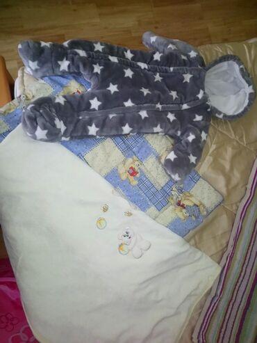 Za bebe,skafander 3-7 mes,prekrivac i dunjica,novo
