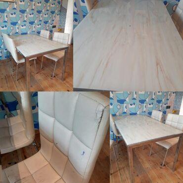Mətbəx stol+4stul 300manata satılır.stulun birində deffekti