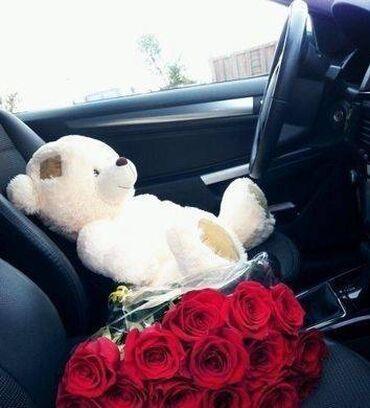 Мишка 75 см и 11 роз на 8 марта (с доставкой)Бесплатная доставка по
