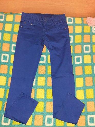 Plave pantalone - Srbija: Drečavo plave pantalone, nenošene, veličina S