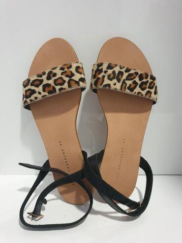 Ženske Sandale i Japanke - Crvenka: Zara kožne sandale novo 36 broj. Tigrasti deo prava koža i kaisevi