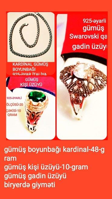 Bakı şəhərində 925-gümüş boyunbağı və üzüklər /boyunbağı kardinal 48-gram