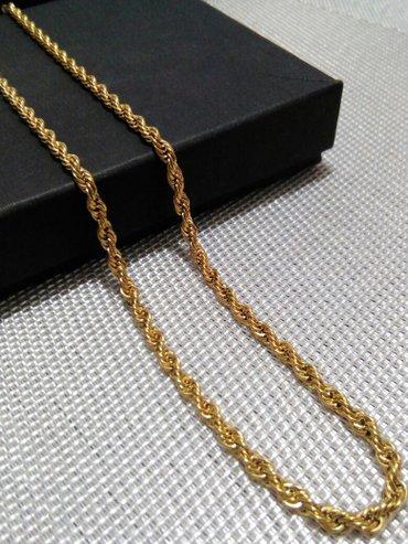 Korda ogrlica, hirurski celik sa 18 k pozlatom - Zrenjanin
