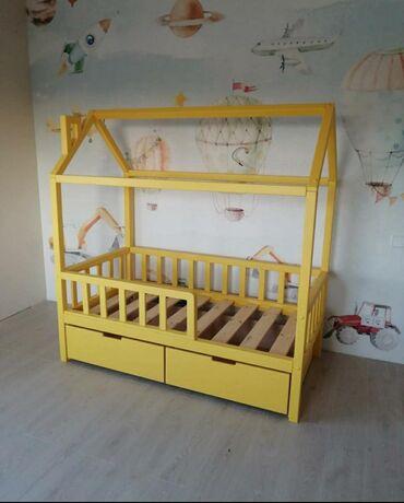 детская-термомозаика в Кыргызстан: Детская кровать домик Материал массив сосна РоссииРазмеры