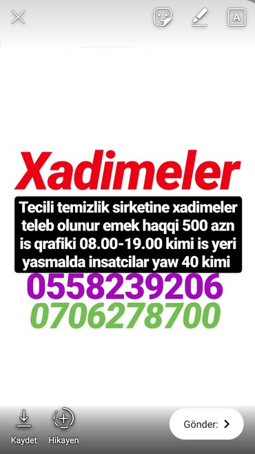 Bakı şəhərində Tecili xadimeler teleb olunur şirkete emek haqqi 500 azn is qrafiki