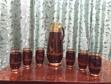 Новый набор для напитков. Цветное стекло. Богемия. Золото. Камыши