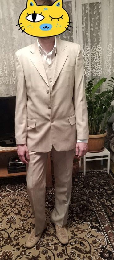 Мужская одежда - Шопоков: Пиджак+брюки+желет костюм брючный тройка, бежевый цвет, + белая