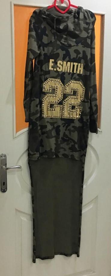 коричневое платье в пол в Кыргызстан: Классная турецкая туника в армейском стиле с капюшоном, передняя часть