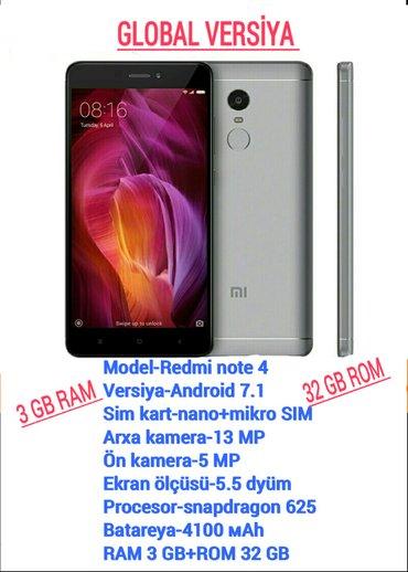 Gəncə şəhərində Xiaomi redmi note 4 ram 3 gb rom 32 gb