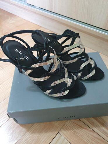 Ženska obuća | Stara Pazova: Sandale sa kaisicima, crno i zlatno, vel 40