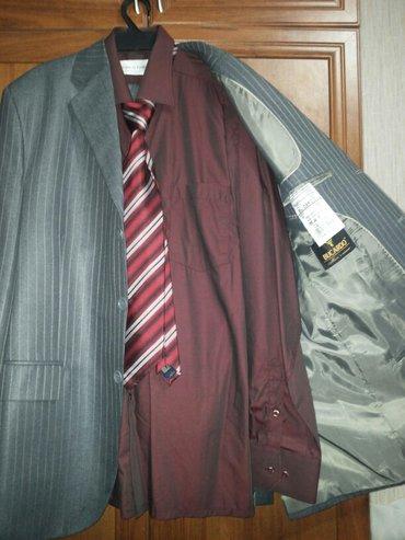 Костюм мужской стального цвета фабричный, размер 52, одет один раз в Бишкек