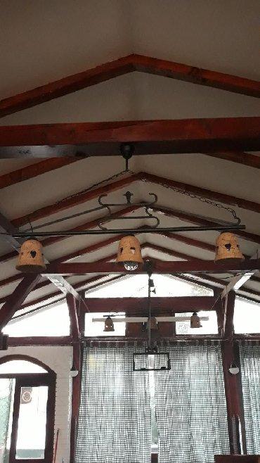 Kućni dekor - Veliko Gradiste: Luster italijanski sa Sicilije od kovanog gvozđa,kugle su od vulkanse