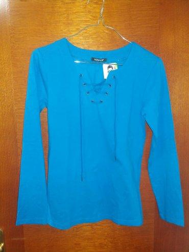 Nova sa etiketom pamučna bluzica ideal plave boje sa modernim pertlanj - Kragujevac