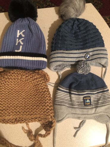 Шапки на мальчика в идеальном состоянии вязаная шапка новая от 1 до 2х
