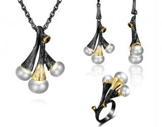 Винтажный черный набор .модная жемчужина . кулон b ожерелье