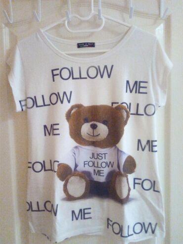 Majica bela sa slikom kofera, veličina L, majica bela sa slikom