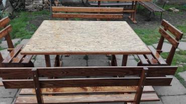 Barska-stolica - Srbija: Bastenska garnitura napravljena od jelovog drveta, ofarbana sadolinom