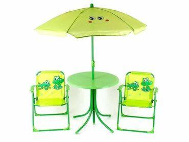 Baštenski set za decu Dve stolice Sto🏖 Suncobran🏜 dezeni žabac i