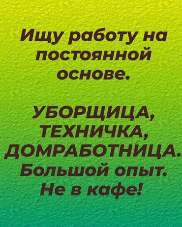 работа для уборщицы в Кыргызстан: Ищу работу уборщицы, технички, домработницаы. НЕ В КАФЕ! Большой опыт