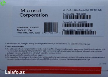 Bakı şəhərində Windows 8 64 bit Eng , multi language, Box, dvd 70 usd/ 120