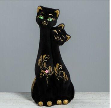 """Копилка """" близнецы"""" 31 см. Флок,черная,золотистый декор. Керамика"""
