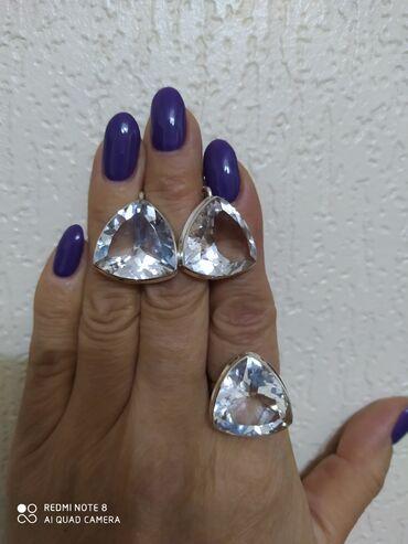 Серебряный набор кольцо и серьги горный хрусталь, крупный, размер