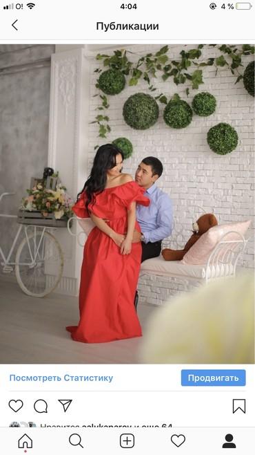 Платье красного цвета,красивое,легкое,Х/б,размер  М 44,46,цена 800 в Бишкек