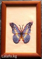 """Вышивка """"бабочка"""" в рамке под стеклом. в Бишкек"""