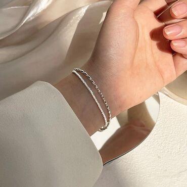 Изящный двойной серебряный браслет 925 пробы
